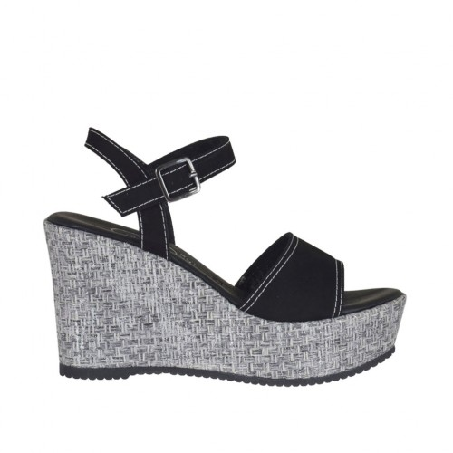 Woman's strap sandal in black suede and silver laminated fabric with platform and wedge 9 - Available sizes:  31, 32, 34, 42, 43, 45
