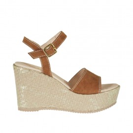 ?Woman's strap sandal in tan brown suede and platinum laminated rope with platform and wedge 9 - Available sizes:  46