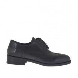 Zapato derby para mujer con cordones en piel negra con tacon 3 - Tallas disponibles:  43, 44, 45
