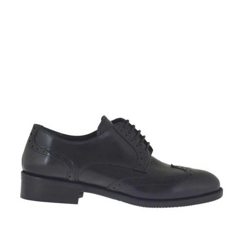 Scarpa stringata da donna modello Derby in pelle nera tacco 3 - Misure disponibili: 43, 44, 45