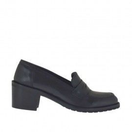 Mocassin pour femmes en cuir noir talon 5 - Pointures disponibles:  32, 33, 34, 42, 43, 44, 47