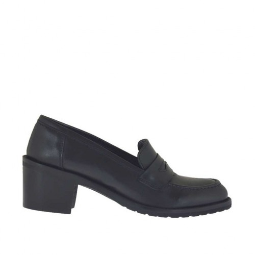 Woman's mocassin in black leather heel 5 - Available sizes:  32, 42