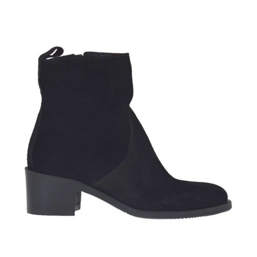 Woman's ankle boot with inner zipper in black suede heel 4 - Available sizes:  32, 33, 34, 42, 43, 44, 45, 46
