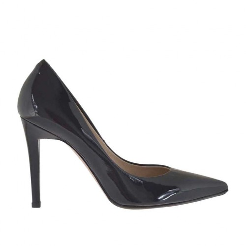 Woman's pump in black metallized lacquered patent leather heel 9 - Available sizes:  31, 44