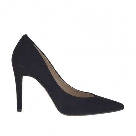 Women's pump in black suede heel 9 - Available sizes:  31, 34, 43, 44, 46, 47
