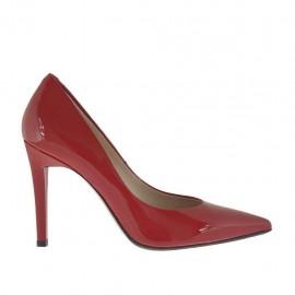 Escarpin pour femmes en cuir verni rouge talon 9 - Pointures disponibles:  32, 34, 42, 44