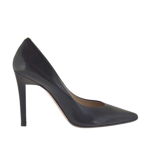 Woman's pump in black leather with heel 9 - Available sizes:  31, 33, 34, 43, 44