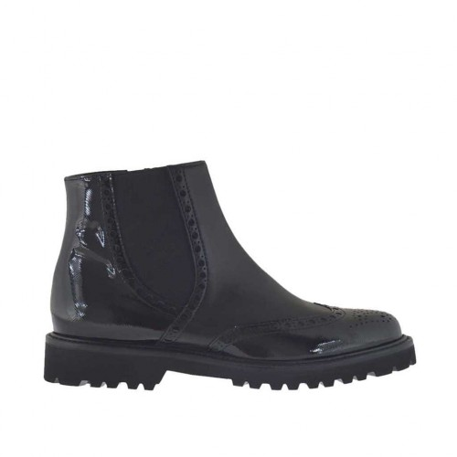 Woman's ankle boot with zipper and elastic in black leather and patent leather heel 3 - Available sizes:  32