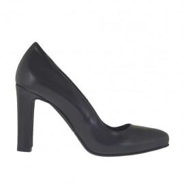 Escarpin pour femmes en cuir noir avec plateforme interieur talon 9 - Pointures disponibles:  33, 34, 43, 44