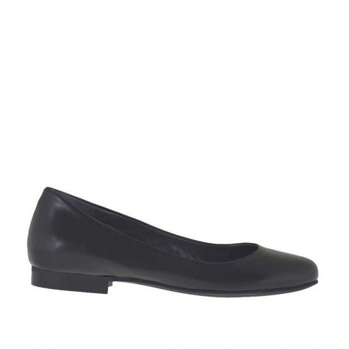 Woman's ballerina shoe in black leather heel 1 - Available sizes:  33, 34, 43