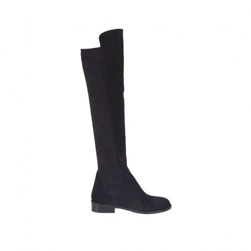 Woman's over-the-knee boot in black suede and elastic material heel 3 - Available sizes:  33, 43, 44, 45, 47