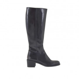 Woman's boot in black leather with zipper heel 5 - Available sizes:  32, 33, 34, 42, 43, 44, 45, 46