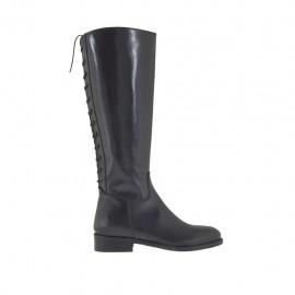 Botas para mujer con cremallera y cordones en la parte trasera en piel negra tacon 3 - Tallas disponibles:  32, 45
