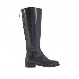 Woman's boot with zipper and back laces in black leather heel 3 - Available sizes:  33, 34, 42, 43, 44, 45, 46
