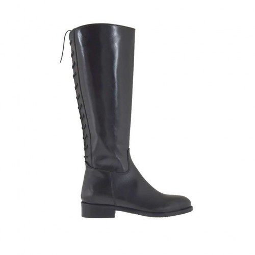 Woman's boot with zipper and back laces in black leather heel 3 - Available sizes:  32