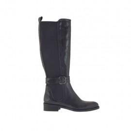 Damenstiefel mit hinterem Gummiband und Schnalle aus schwarzem Leder Absatz 3 - Verfügbare Größen:  33, 34