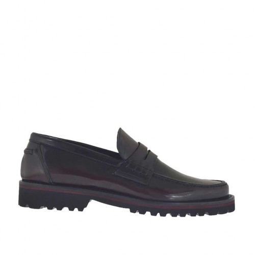 Man's mocassin in maroon brush-off leather - Available sizes:  38, 46, 47, 49, 50