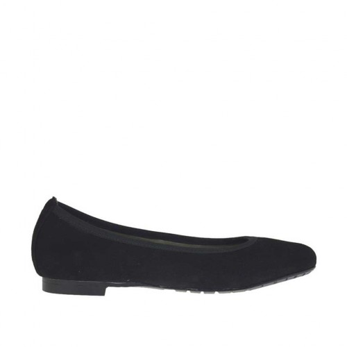 Woman's ballerina shoe in black suede heel 1 - Available sizes:  33