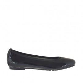 Zapato bailarina para mujer en charol negro con punta redondeada tacon 1 - Tallas disponibles:  33, 34, 42, 43, 44, 45