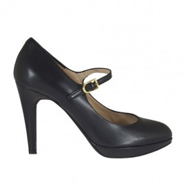 Woman's platform pump in black leather with strap heel 9 - Available sizes:  34, 43, 44, 45, 46