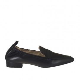 Damenmokassin aus schwarzem Leder mit Gummiband Absatz 2 - Verfügbare Größen:  34, 42, 43, 44, 45