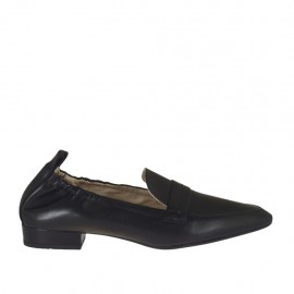 Woman's mocassin in black leather with elastic bands heel 2 - Available sizes:  33, 34, 42, 43, 44, 45