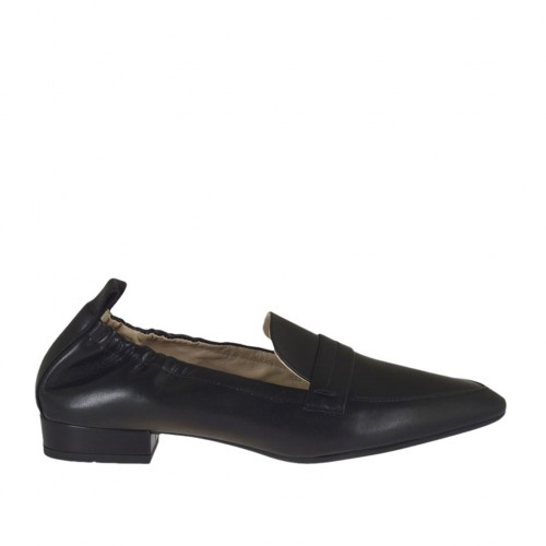 Woman's mocassin in black leather with elastic bands heel 2 - Available sizes:  45