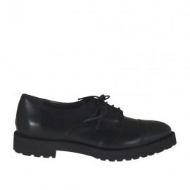 Zapato derby para mujer con cordones en piel negra tacon 3 - Tallas disponibles:  32, 33, 34, 43, 44, 45, 46