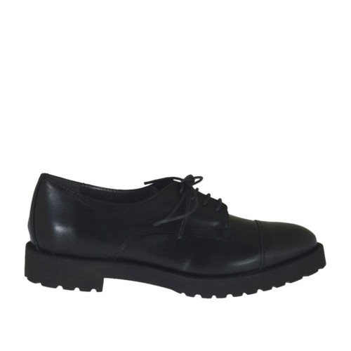 Woman's laced derby shoe in black leather heel 3 - Available sizes:  44, 46