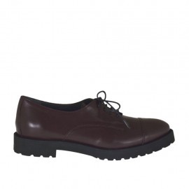 Scarpa stringata derby da donna in pelle bordeaux tacco 3 - Misure disponibili: 32, 33, 42, 45, 46