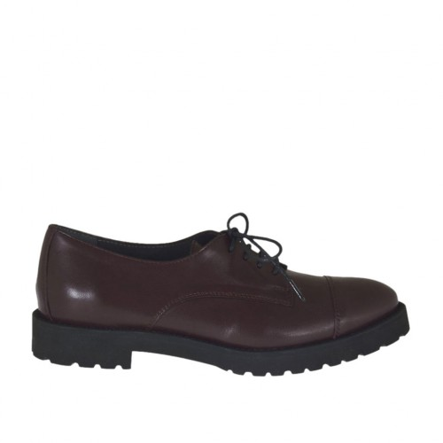 Woman's laced derby shoe in maroon leather heel 3 - Available sizes:  42, 46