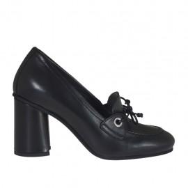 Scarpa accollata da donna con laccio in pelle nera tacco 7 - Misure disponibili: 32, 33, 34, 43, 44, 45