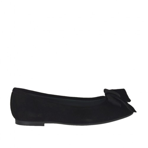 Woman's ballerina shoe with velvet bow in black suede heel 1 - Available sizes:  33