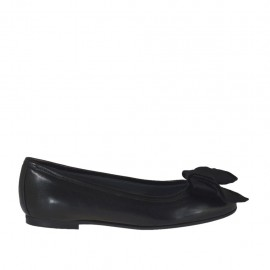 Woman's ballerina shoe with velvet bow in black leather heel 1 - Available sizes:  33, 34, 44, 45