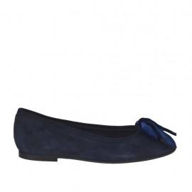 Bailarina para mujer en gamuza azul con moño en terciopelo tacon 1 - Tallas disponibles:  33, 43, 46