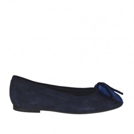 Woman's ballerina shoe with velvet bow in blue suede heel 1 - Available sizes:  33, 43, 46