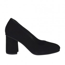 Woman's pump in black suede block heel 7 - Available sizes:  33, 34, 43, 44, 45