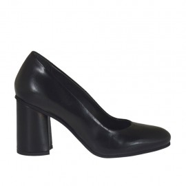 Damenpump aus schwarzem Leder Blockabsatz 7 - Verfügbare Größen:  32, 33, 34, 43, 44, 45
