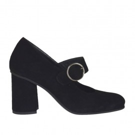 Woman's pump with strap in black suede block heel 7 - Available sizes:  32, 34, 43, 44, 45