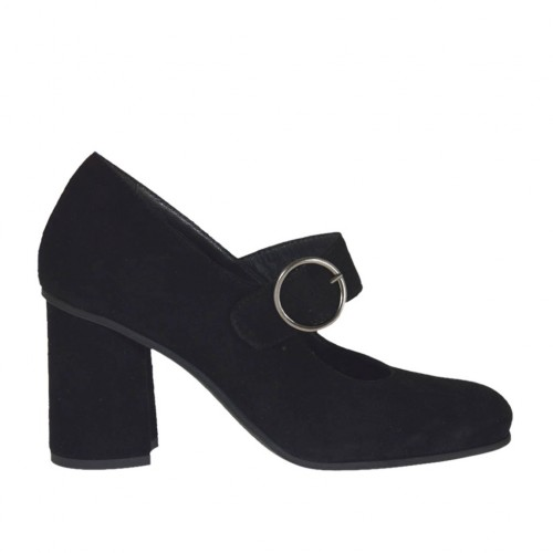 Woman's pump with strap in black suede block heel 7 - Available sizes:  43