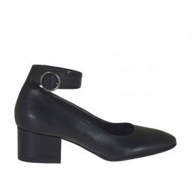 Decolté da donna con cinturino alla caviglia in pelle nera tacco 4 - Misure disponibili: 32, 33, 34, 43, 44, 45
