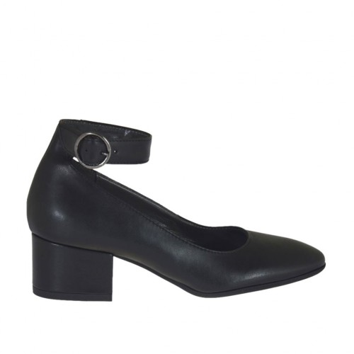 Woman's pump with ankle strap in black leather heel 4 - Available sizes:  44