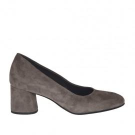 Zapato de salon para mujer en gamuza gris perla tacon 5 - Tallas disponibles:  32, 33, 34, 42, 43, 44, 45