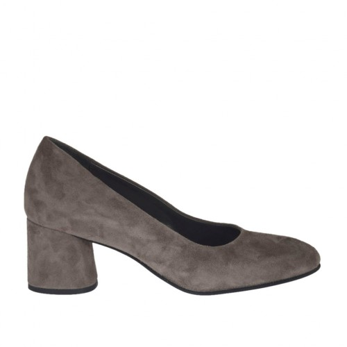 Woman's pump in dove grey suede heel 5 - Available sizes:  45