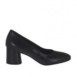 Zapato de salon para mujer en piel negra tacon cuadrado 5 - Tallas disponibles:  32, 33, 34, 42, 43, 44, 45