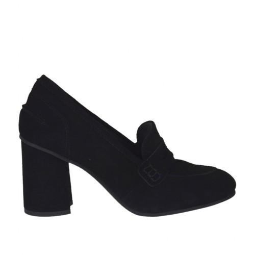 Chaussure pour femmes en daim noir talon 7 - Pointures disponibles:  42, 43
