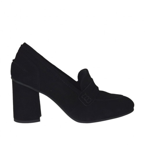 Woman's shoe in black suede heel 7 - Available sizes:  42