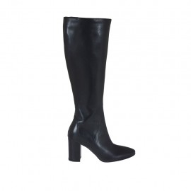Woman's boot with zipper in black leather heel 7 - Available sizes:  32, 33, 34, 42, 43, 44, 45