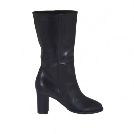 Woman's boot in black leather heel 7 - Available sizes:  32, 33, 34, 42, 43, 44, 45