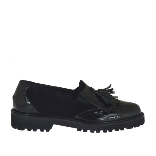 Woman's mocassin with elastics, fringes and tassels in black suede and patent leather heel 3 - Available sizes:  32, 33, 34